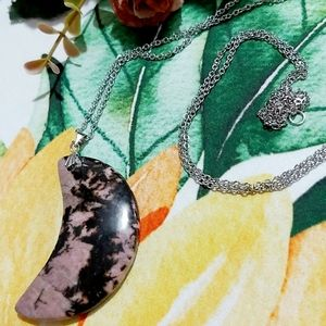 Rhodonite Moon Crescent on Stainless Steel Chain N
